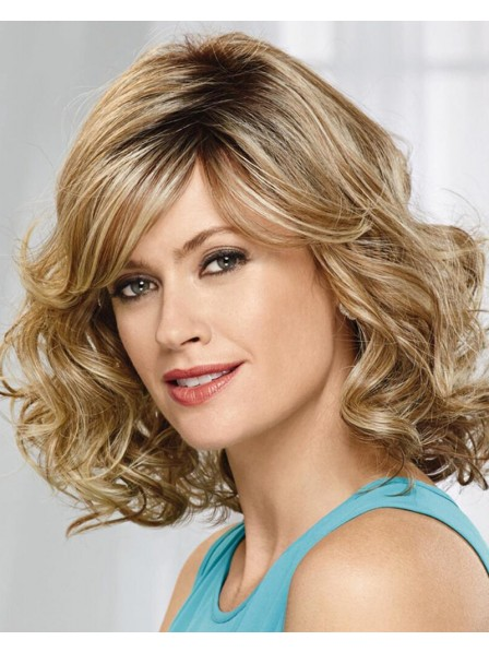 Curly Shoulder-Length Bob Wig In Heat-Stylable Synthetic Fiber