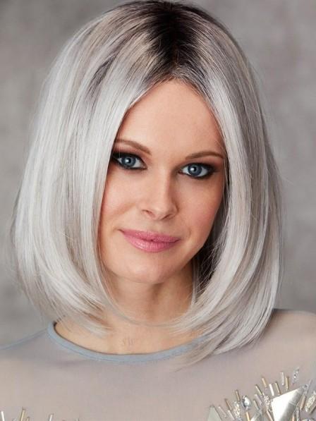 Medium Ladies White Grey Bob Hair Wig