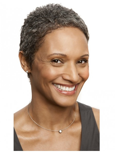 African American Short Natural Haircut Wig Black Women Over 50