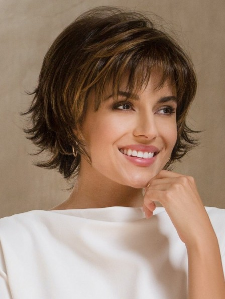 Cute Synthetic Short Brown Wavy Hair Wig with Bangs
