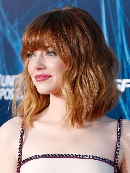 Emma Stone New Wavy Bob Cut Wig with Bangs