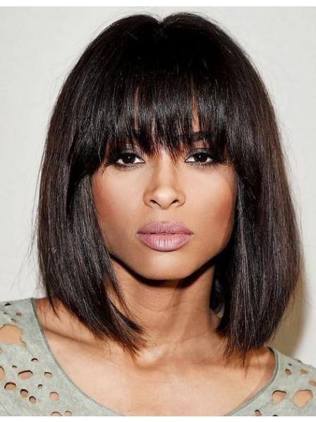Fashion Bob full bangs 100% human hair made wigs for women