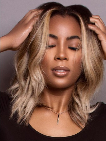 Fashion shoulder length grey synthetic natural wavy hair wigs