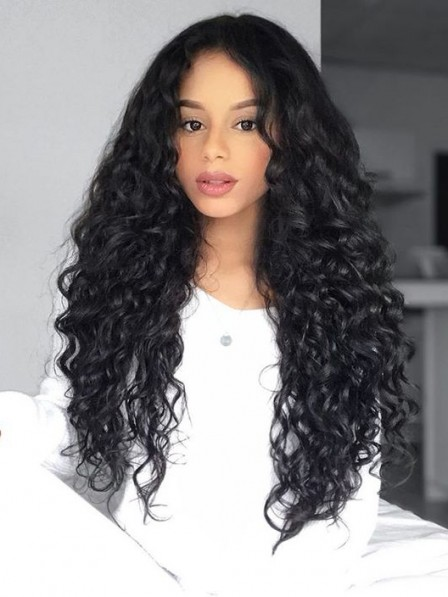 Fluffy long curly black afro hairstyle synthetic wig for black women