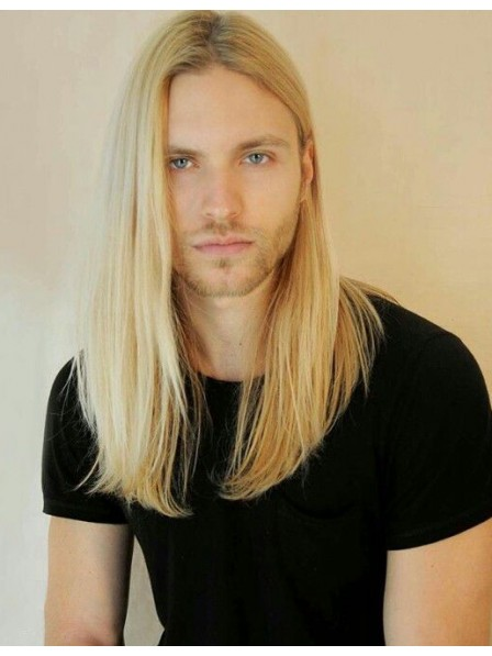 Graceful Blonde Stright Lace Front Mono Top Hair Wigs For Men