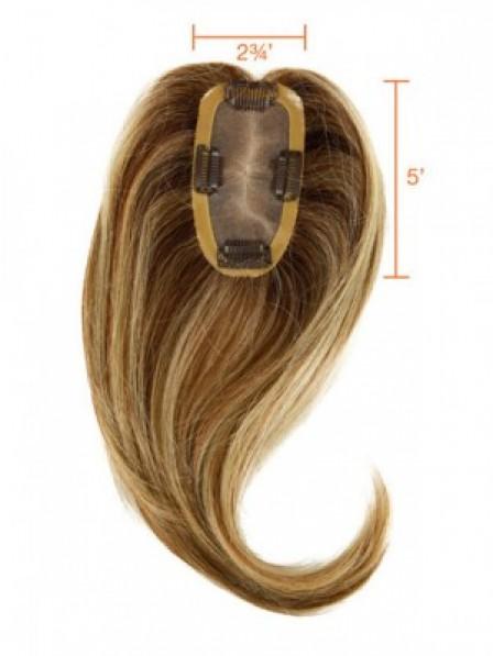 """16"""" Wavy Brown 100% Human Hair Mono Hair Pieces"""