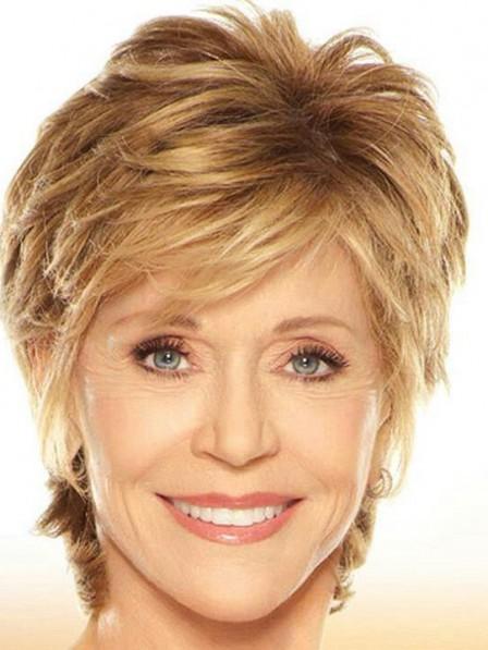 Jane Fonda Short Blonde Human Hair For Ladies