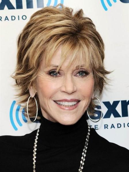 Jane Fonda Short Layered Cut Blonde Hair Wig