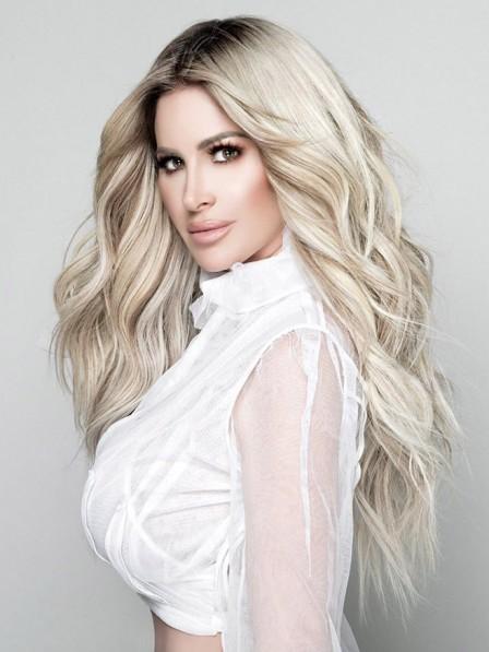 Kim Zolciak New Blonde Long Wavy Hair Wig