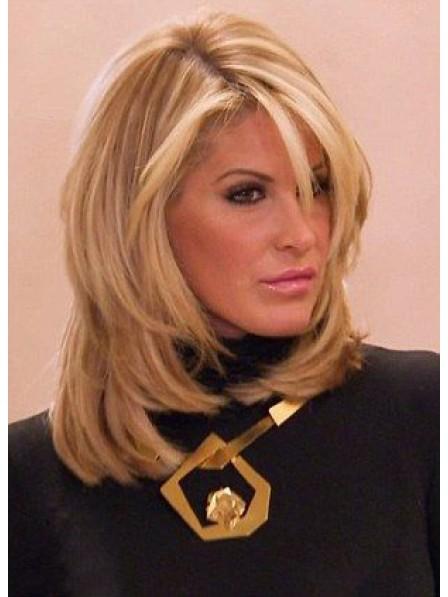 Kim Zolciak Shoulder Length Human Hair Blonde Wig