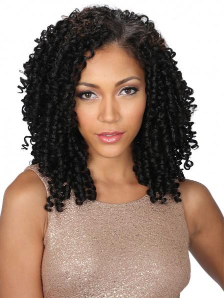 Noble curly medium hair black capless wigs