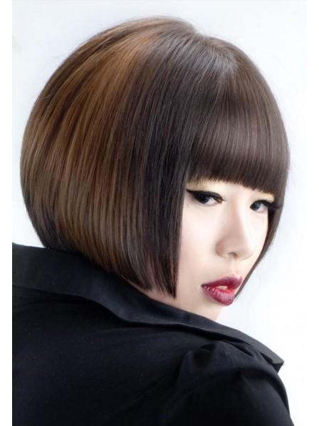 Lace Front Mono Top Human Hair Bob Short Wig With Full Bangs