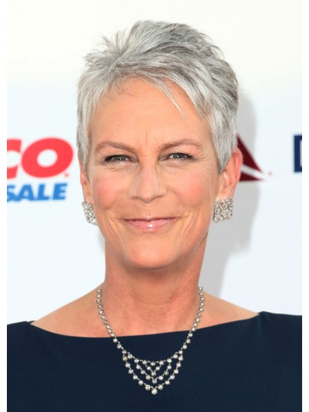 Cropped Straight Lace Front Grey Wigs for Seniors