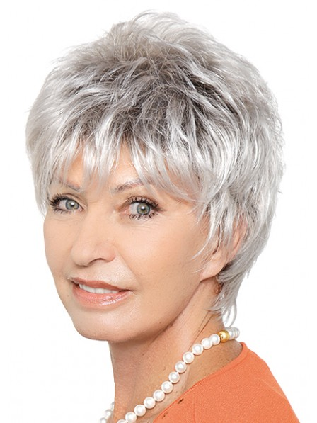 Grey Short Layered Capless Synthetic Wig