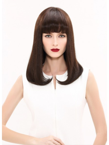 Long Straight Human Hair Wig With Fringe