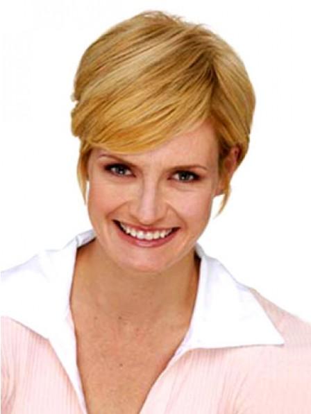 """6"""" Straight Blonde Human  Hair Capless Hair Pieces"""