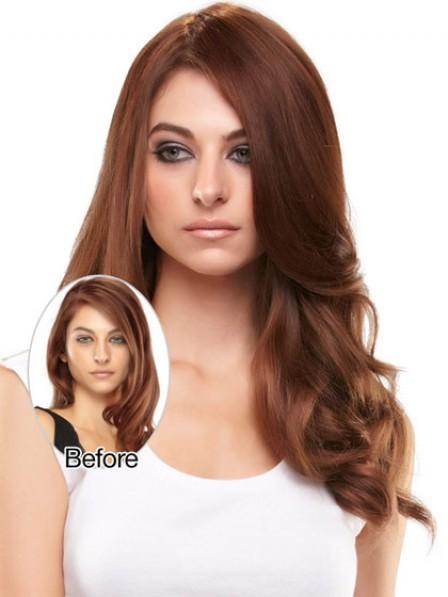 Wavy Auburn 100% Human Hair Mono Hair Pieces