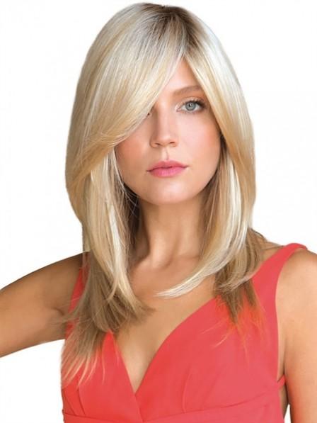 """16"""" Straight Blonde 100% Human Hair Mono Hair Pieces"""