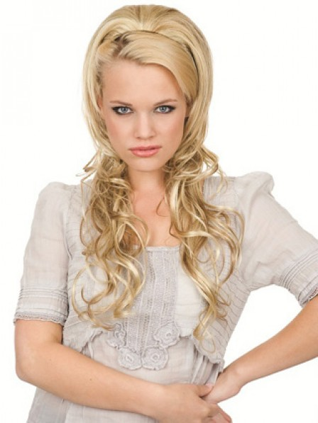 """22"""" Wavy Blonde 100% Human Hair 1/2 Wigs Hair Pieces"""