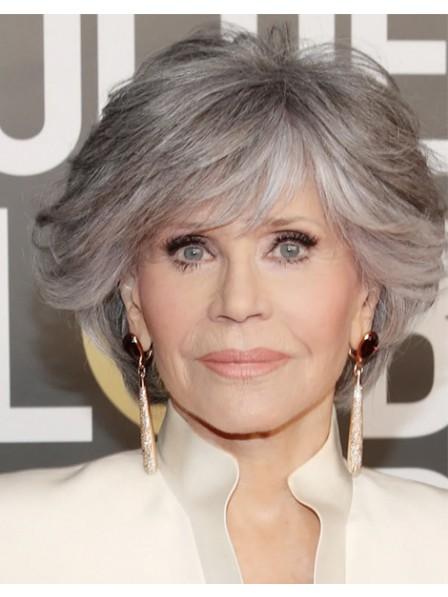 Short Wavy Jane Fonda Grey Wigs
