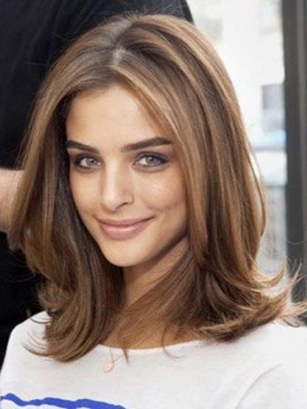 Shoulder Length Light Brown Lace Front Human Hair Wig with Middle Part