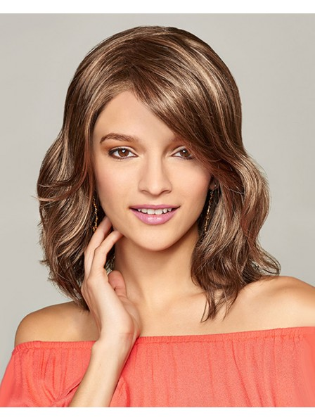 Shoulder length Monofilament top wig with lace front