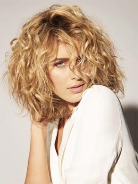 Curly Hait Style Medium Length Synthetic Wig