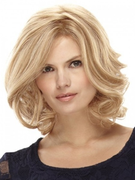 Lace Front Human Hair Blonde Wavy Monofilament Wig