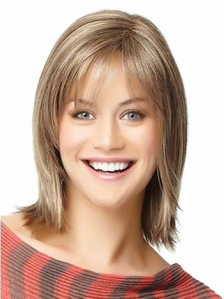 Human Hair Straight Capless Hair Wig With Bangs