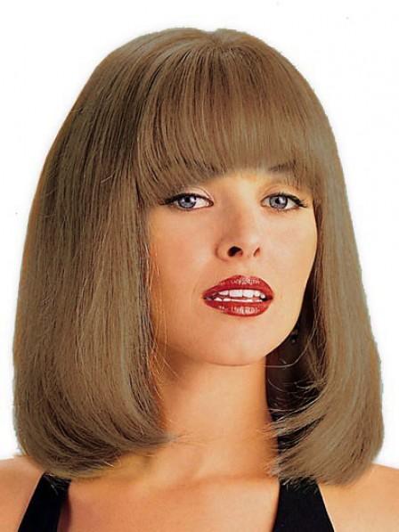 Bob Straight ShoulderLength Human Hair Monofilament Wig