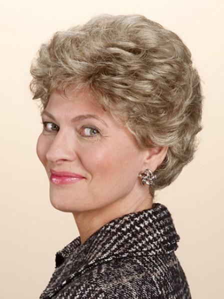 Grey Synthetic Short Wavy Hair Wig For Women