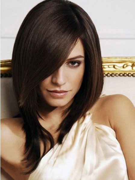 Shoulder Length Straight With Side Bangs Wig For Women