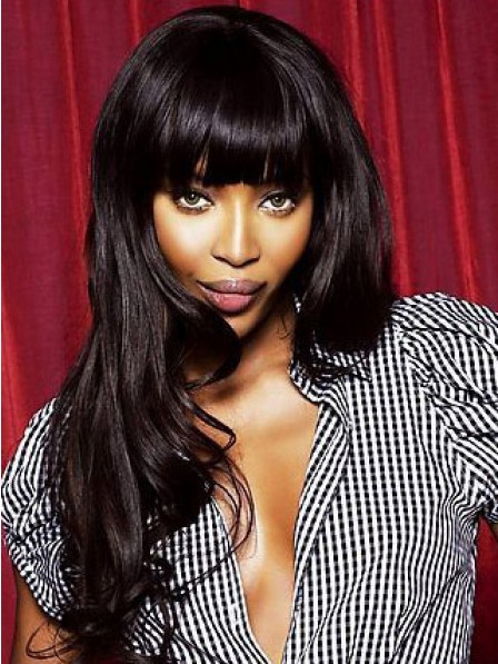 Indian Human Hair Long Wavy Lace Front Monofilament Wig With Full Bangs