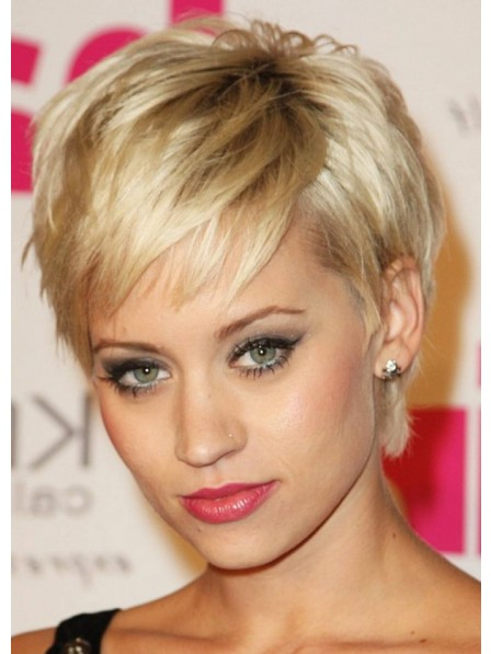 Short Blonde Straight Wig With Bangs
