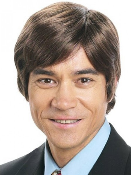 Short Straight Capless Wig With Bangs For Men