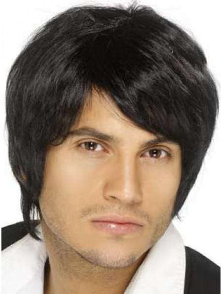 Mens Human Hair Capless Straight With Bangs