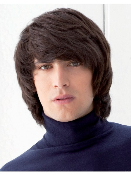Chin Length Straight Synthetic Mens Hair Wig With Bangs