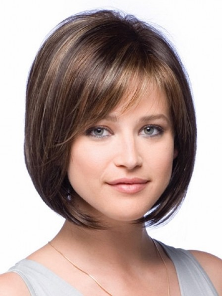 Chin Length Bob Lace Front Straight Wig With Side Bangs