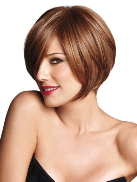 Straight look Short Women Wig With Side Bangs