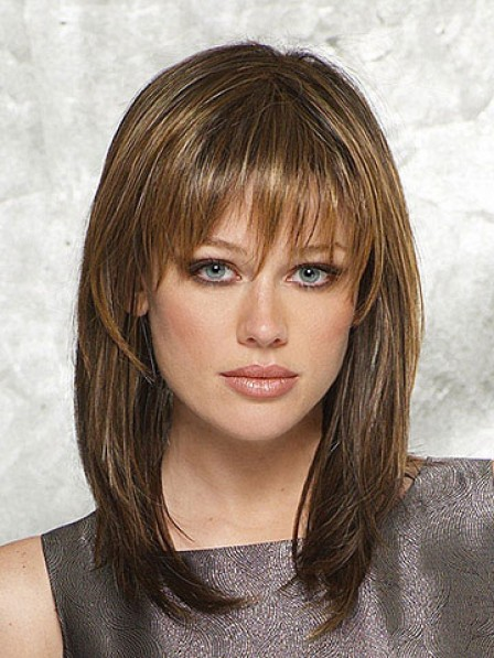 Synthetic Shoulder Length Wig With Bangs