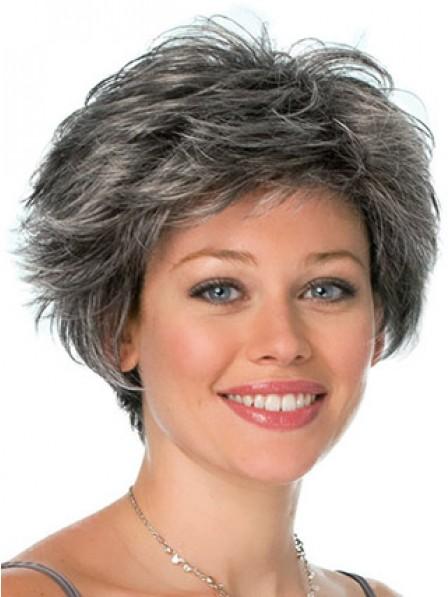 Grey Short Wavy Synthetic Hair Wig