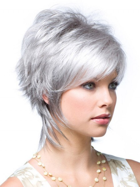 Short Straight Lace Front Monofilament Layered Grey Wig With Bangs