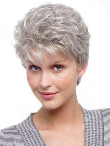 Grey Curly Capless Hair Wig With Bangs